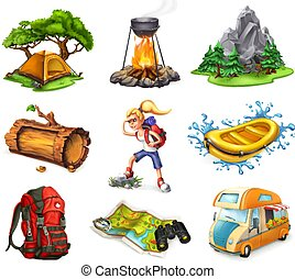 Camp and adventure, 3d vector icons set