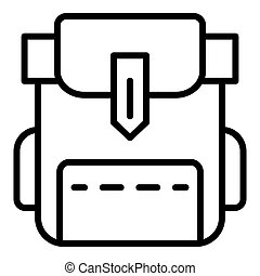 Camp backpack icon, outline style