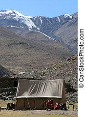 camp, base, inde, himalaya