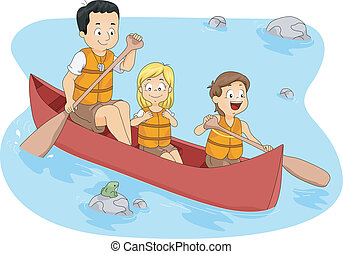 Camp Boating - Illustration of Campers Boating