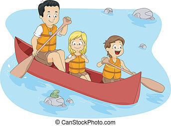 Camp Boating - Illustration of Campers Boating
