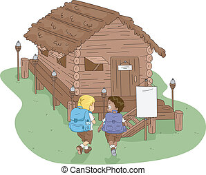 Camp Cabin - Illustration of Kids Heading to a Log Cabin