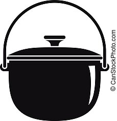 Camp cauldron icon, simple style