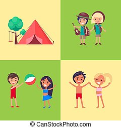 Camp Children Playing Outdoors Vector Poster.