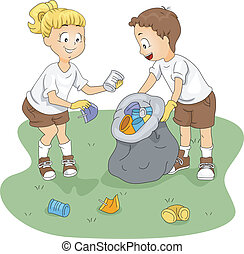 Camp Cleaning - Illustration of Kids Cleaning up a Camp