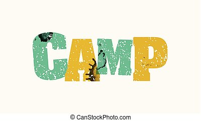 Camp Concept Colorful Stamped Word Illustration