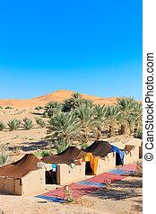 camp, dans, désert