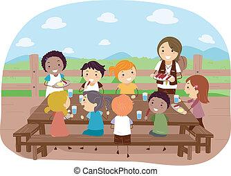 Camp Dining - Illustration of Campers Eating Together