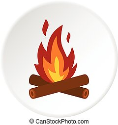 Camp fire icon circle