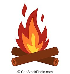 Camp fire icon, flat style