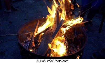 Camp fire in the night Fire burn fire wood