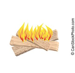 camp Fire isolated. Boards and flames on white background. Burning logs