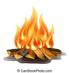 Camp fire isolated on white background. Vector cartoon close-up illustration.
