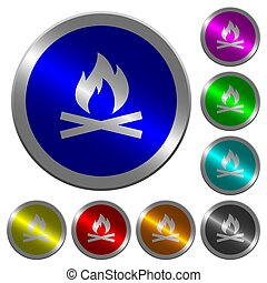 Camp fire luminous coin-like round color buttons