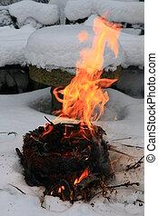 camp-fire, neve
