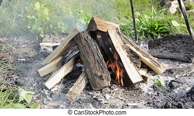 Camp fire outdoors burning