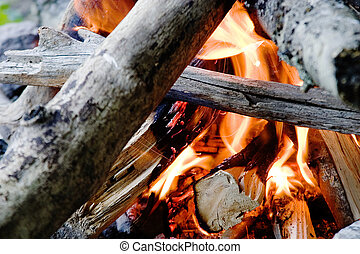 Camp Fire - Camp fire in the outdoors, open flame.