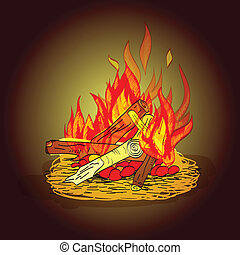 Camp fire sketch - Colorful hot fiery camp fire with stack...