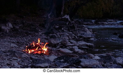 Camp Fire - camp fire on the river bank