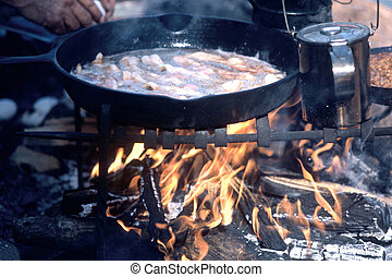 Camp Fire - camp fire fring bacon