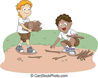 Camp Firewood - Illustration of Kids Gathering Firewood