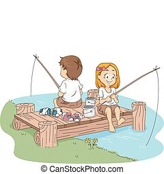 Camp Fishing - Illustration of Kids Fishing