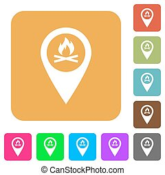 Camp GPS map location rounded square flat icons