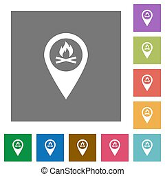 Camp GPS map location square flat icons