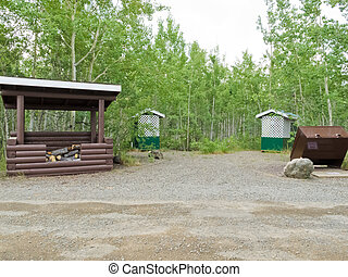Camp ground firewood shed garbage bin outhouse - Simple...