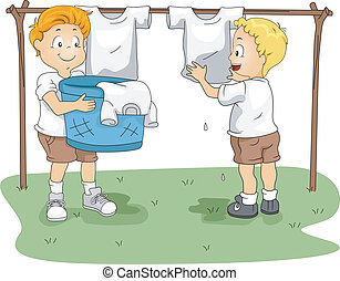 Camp Hanging Clothes - Illustration of Kids Hanging Clothes...