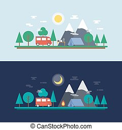 camp, jour, nuit