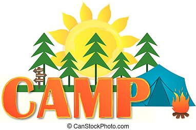 Camp Logo with Tent andTrees