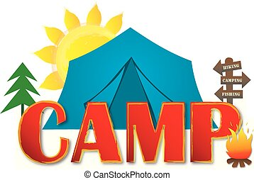 Camp Logo with Tent, Trees, and Campfire