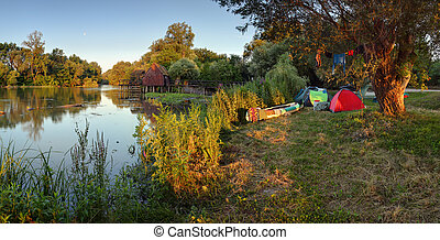 Camp near river small Danube