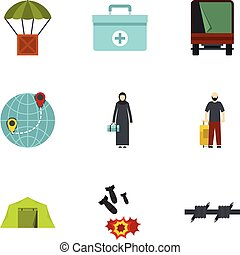 Camp of refugee icons set, flat style