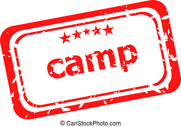 camp on red rubber stamp over a white background