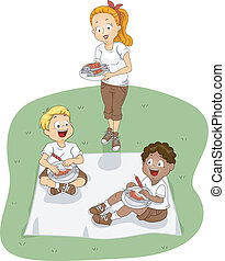 Camp Picnic - Illustration of Kids Eating Outdoors