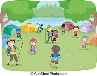 Camp Site Kids - Illustration of Kids Wandering Around a...