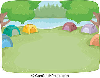 Camp Site - Illustration of a Lakeside Camp Site Filled with...