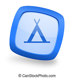 camp square glossy blue web design icon