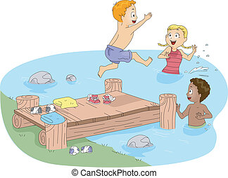 Camp Swimming - Illustration of Kids Swimming
