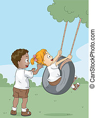 Camp Swing - Illustration of Kids Playing with a Swing