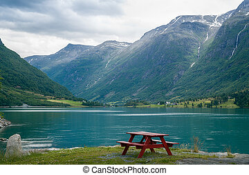 camp, table, sur, les, fjord, rivage, norway.