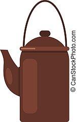 Camp teapot icon, flat style