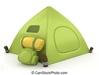 Camp Tent - 3D Illustration of a Green Tent
