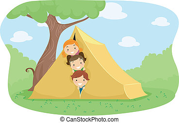 Camp Tent - Illustration of Campers Peeking from Behind a...