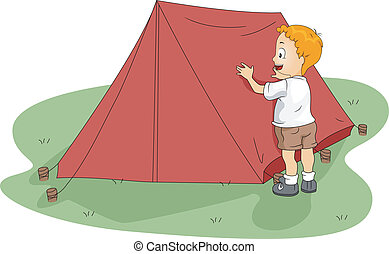 Camp Tent - Illustration of a Kid Fixing His Tent