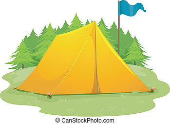 Camp Tent Flag - Illustration of a Blue Flag Standing Beside...