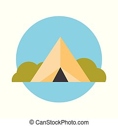 Camp Tent Icon Summer Adventure And Travel Concept