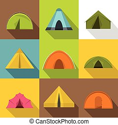 Camp tent icons set, flat style